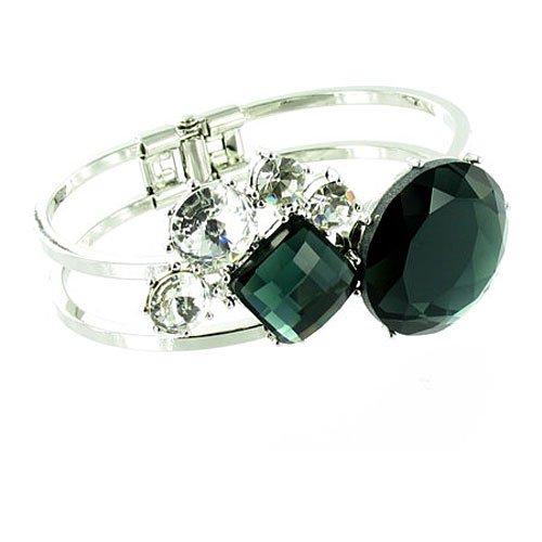 Di cristallo nero e trasparente-Bracciale rigido placcato argento, motivo astratto