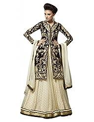 Stylelok Beige Georgette Unstitched Anarkali Suit SL 175015540