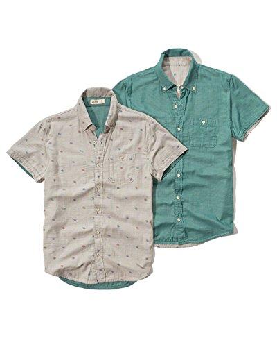 Hollister -  Camicia Casual  -  Vestito modellante  - Azteco - Con bottoni  - Maniche corte  - Uomo Cream Print Large