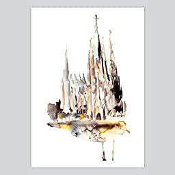 Watercolor Print Gaudi\'s Basilica, 12 x 16 inches