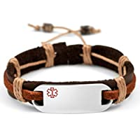 Dark Brown / Rust Color Leather & Hemp Medical Bracelet - Engravable Front Only - Adjusts 6 1/2 - 9 Inches from StickyJ