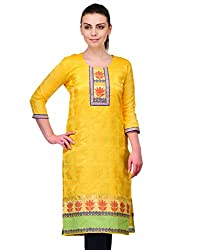 Awesome Fab Yellow Color Brasso Fabric Women's Straight Kurti