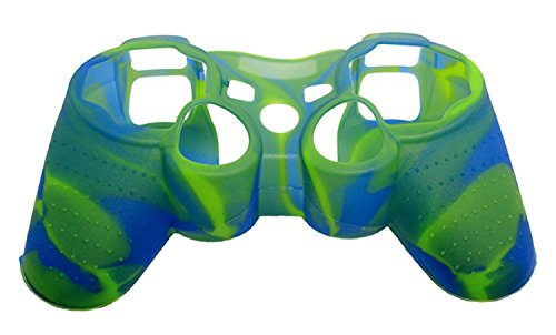 New Silicone Cover Case Skin for Ps3 Controller Camo Blue with Green (Silicone Ps3 Controller Cover compare prices)