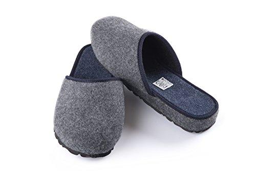P.F. Pantofole pianelle in lana cotta color grigio (45), by Artimondo