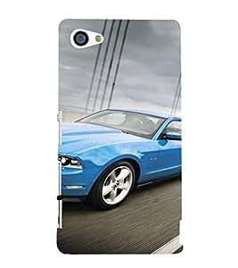 EPICCASE Blue Car Mobile Back Case Cover For Sony Xperia Z5 Mini / Z5 Compact (Designer Case)