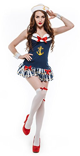 Whatsofun Women's Sexy Sailor Costumes (Small) (Navy Sailor Costume)