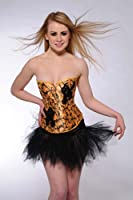 Gorgeous Golden Flower yellow satin corset with black lace, Size M(8-10), make you the queen of the party!