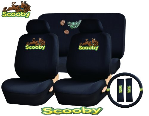 11 Piece Auto Interior Gift Set - Scooby Doo - A Set of 2 Seat Covers, 1 Rear Bench Cover, 1 Steering Wheel, and a Set of 2 Seat Belt Pads