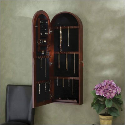 SEI Arbor Wall Mount Jewelry Armoire, Dark Cherry
