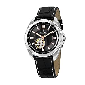 Festina F6744-5 41mm Automatic Stainless Steel Case Black Calfskin Mineral Men's Watch