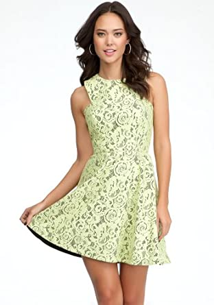 bebe Fit &Flare Lace Dress Day Dresses Sunny Lime-xs