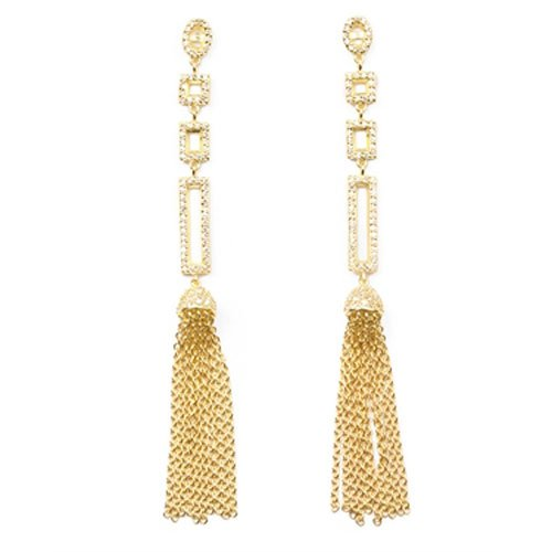 C.Z. Vermeil Tassle Drop (.925) S/S Earringss (Nice Holiday Gift, Special Black Firday Sale)