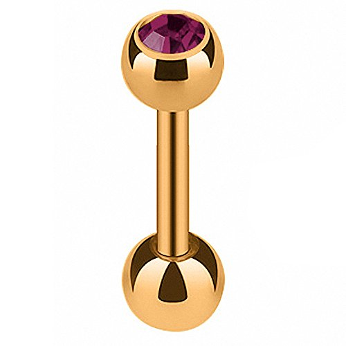 Piercingfaktor-Tragus-Piercing-Rosgold-mit-Kristall-Kugel-8mm-Violett