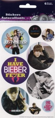 Justin Bieber Button Stickers Party Favors 6 Sheets
