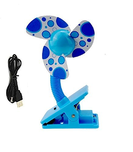 Clip On Baby Stroller Fan with Soft Foam Blade Portable Mini Travel/ Desk / Versatile Personal Fan Powered by USB/ 2 AA Batteries (Blue) (Foam Clip On Fan compare prices)