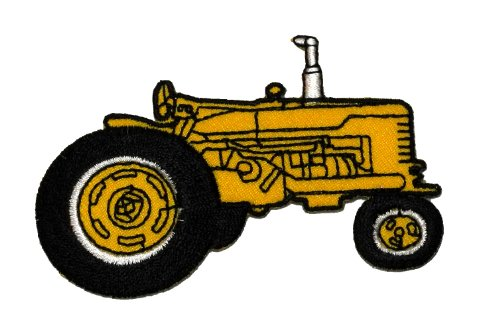 Farm Tractor Yellow Diy Applique Embroidered Sew Iron On Patch