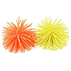 2 Pcs Aquarium Plant Grass Sea Anemone Coral Fuorescent Yellow Orange