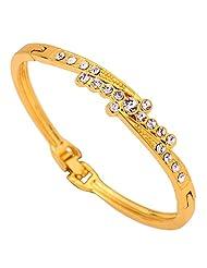 Amybria Jewelry Noble Slender Carve Crystal 9K Yellow Gold Filled Bracelet Bangle