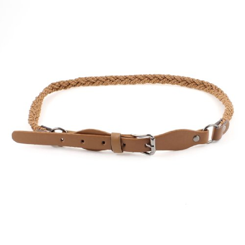 Ladies Single Pin Buckle Adjustable Braided Faux Leather Skinny Waist Belt