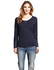 Indigo Collection Pure Cotton Tapestry Cuff Top