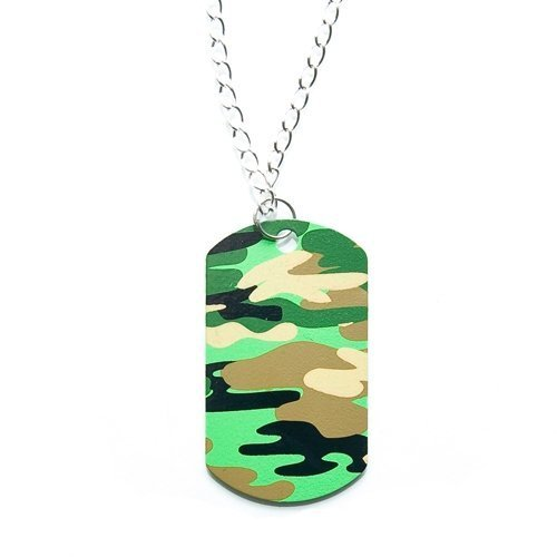 Camouflage Dog Tag Necklaces - 12 per unit