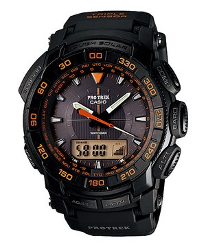 Casio Men's PRG550-1A4 Pro Trek Triple-Sensor Tough Solar Analog-Digital Sport Watch from Casio