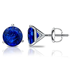 14k White Gold Round Blue Sapphire Gemstone Stud Earrings in 3-Prong Martini Screw Backs (1 cttw)