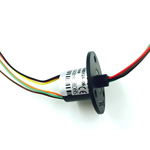 GeeBat Mini Capsule Electrical Slip Ring 12.5mm 250RPM 250VDC/VAC 6/12 Wires CIRCUITSx2A for monitor Robotic (6 Wires w/ Flange) from GeeBat