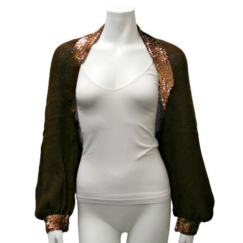 Brown Sequin Trimmed Knit Shrug Sweater