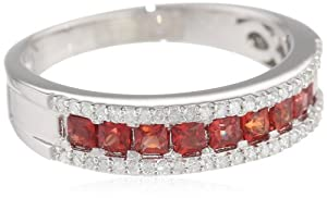 Sterling Silver Dark Orange Sapphire and Diamond Ring from The Aaron Group - HK DI