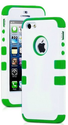 Mylife Bright Green - White Flat Matte Series (Neo Hypergrip Flex Gel) 3 Piece Case For Iphone 5/5S (5G) 5Th Generation Smartphone By Apple (External 2 Piece Fitted On Hard Rubberized Plates + Internal Soft Silicone Easy Grip Bumper Gel)