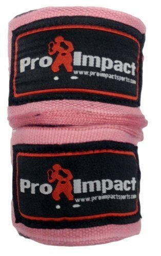 "PRO IMPACT Boxing/MMA Handwraps 180"" Mexican Style Elastic 1 Pair PINK"