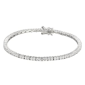 Platinum-Plated Sterling Silver and Simulated Diamond Tennis Bracelet, 7.5