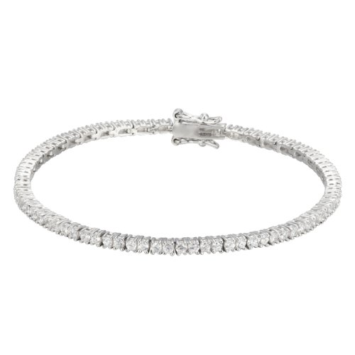 Platinum Plated Sterling Silver Round-Cut Cubic
