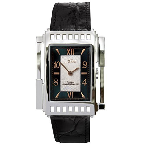 Xezo Unisex Architect Swiss Made Watch. Natural Black Mother-of-Pearl. Surgical Grade Stainless Steel. Curved Sapphire Crystal. 165 FT WR. No Two Watches Alike