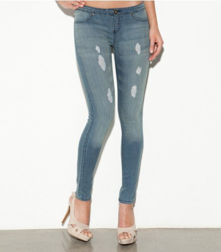 G by GUESS Pull-On Super Skinny Jeans, MEDIUM WASH DESTROY (LARGE)
