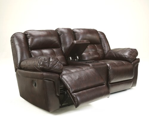 Randon Mahogany Faux Leather Upholstered Double Reclining