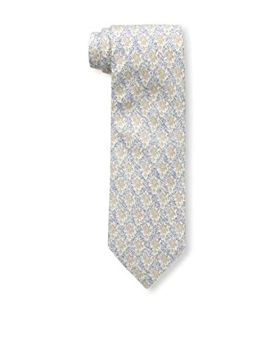 Rossovivo Men's Floral Print Tie, Navy/Taupe