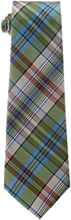 Psycho Bunny Men's Plaid Tie, Green, One Size