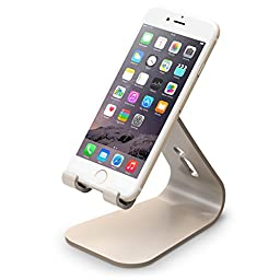 elago® M2 Stand [Champagne Gold] - [Premium Aluminum][Angled for Video Calls][Cable Management] - for all iPhones, Galaxy, and other Smartphones