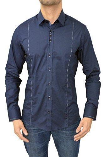 Guide London -  Camicia Casual  -  Vestito modellante  - Maniche lunghe  - Uomo LS.73409 Navy Large