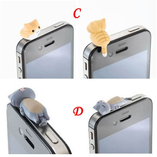 Zoeast 6 Kinds Adorable Little Yellow Grey Black White Cat Sweet Home Cat Kitten Kitty Dust Plug 3.5Mm Smart Cell Mobile Phone Plug Headphone Jack Earphone Cap Ear Cap Dustproof Plug Charm Iphone Plug Charm For Iphone 4 4S 5 5S Htc Samsung Ipad 2 3 4 Mini