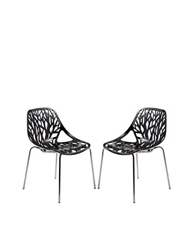 LeisureMod Set of 2 Modern Asbury Dining Chairs With Chromed Legs, Black