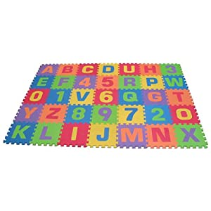 Edushape Edu-Tiles 36 Piece 6x6ft Play Mat, Letters & Numbers Set
