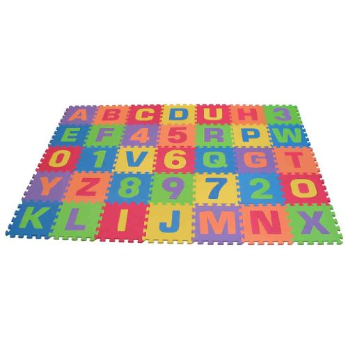 New Edushape Edu-Tiles 36 Piece 6x6ft Play Mat, Letters & Numbers Set