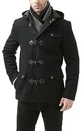BGSD Men\'s \'Nathan\' Wool Blend Patch Pocket Short Toggle Coat - Black L