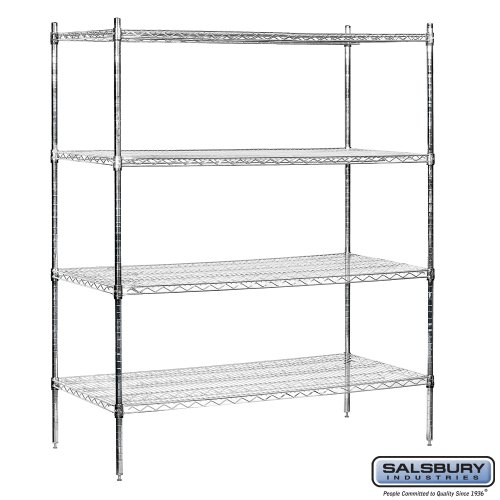 salsbury industries stationary wire shelving unit 60 inch. Black Bedroom Furniture Sets. Home Design Ideas