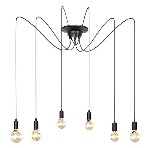 Fuloon Lampadario moderno di colore nero, chic e elegante con 10 luci sospese, ideale: per loft, sala da pranzo, camera da letto, salone, hotel (Nero 1 (6 LED))