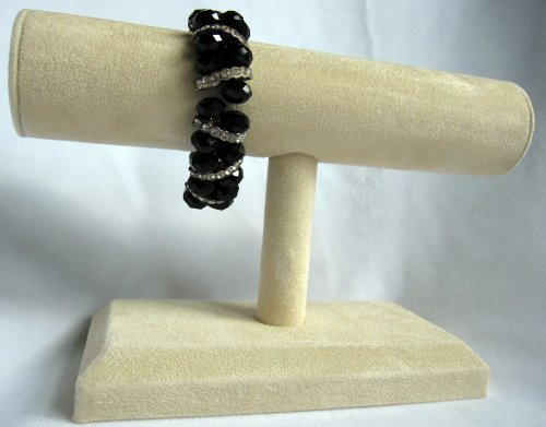 Plush Beige Suede T-Bar Bracelet and Bangle Display 7 1/2 x 4 7/8