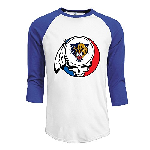 Duola Men's Baseball 3/4 Sleeve Essential Raglan Tees Grateful Panther Head Portrait Size S RoyalBlue